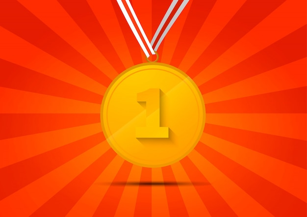 Golden medal for first place on red striped background
