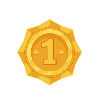 Золотая медаль. обладатель i места, трофей, спортивная награда. изолированные вектор икона золотой медали первое место в мультяшном стиле.