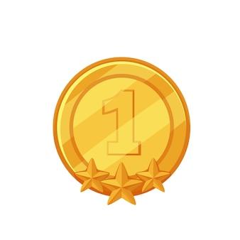 Золотая медаль. обладатель i места, призер, спортивная награда. изолированные вектор икона золотой медали первое место в мультяшном стиле.