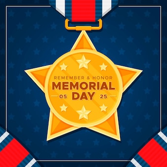 Golden medal flat design memorial day