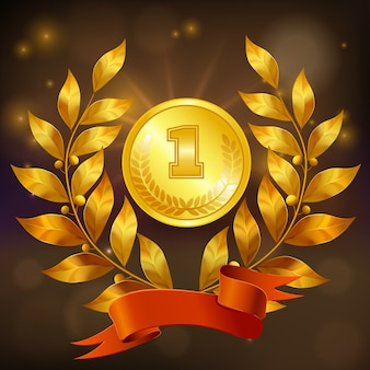 Golden medal with laurel wreath and red ribbon realistic composition