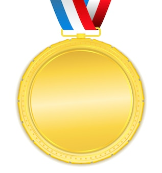 Golden medal with ribbon,
