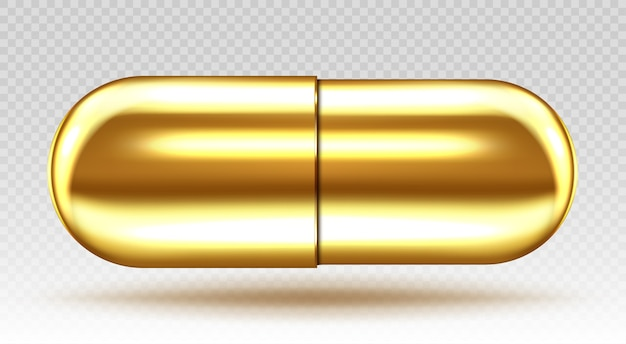 Golden medical capsule isolated on transparent background. realistic illustration