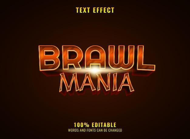 Golden medieval brawl mania rpg editable game logo title text effect