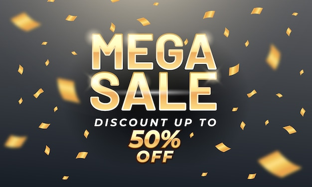 Golden mega sale banner template with gold confetti