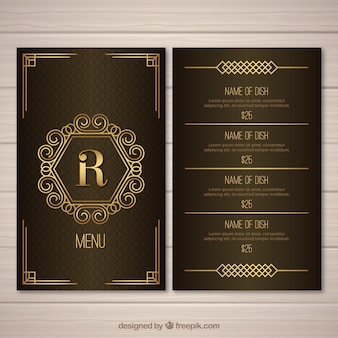 Golden menu template for retro restaurant