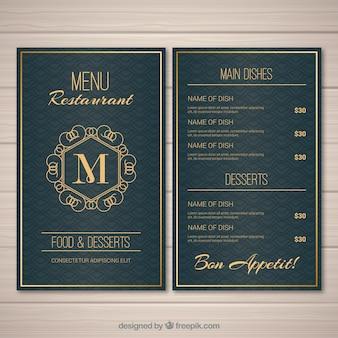 Золотой шаблон меню для винтажного ресторана