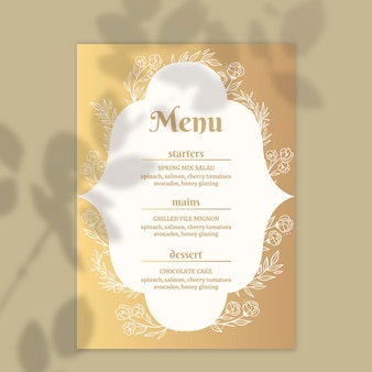 Golden menu template for wedding