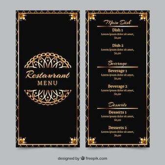 Золотой шаблон меню с винтажной рамкой