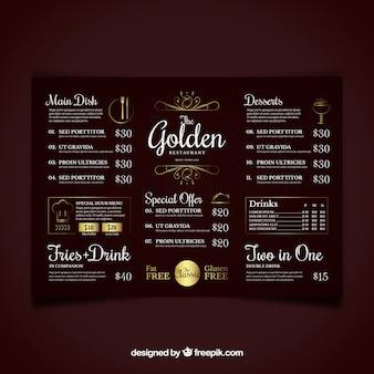 Золотой шаблон меню со старинными украшениями