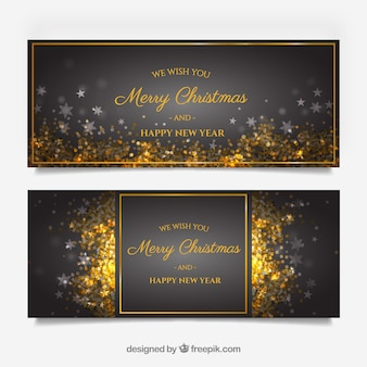 Golden merry christmas banners