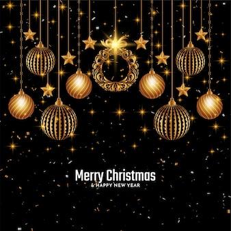 Золотой счастливого рождества праздничный фон