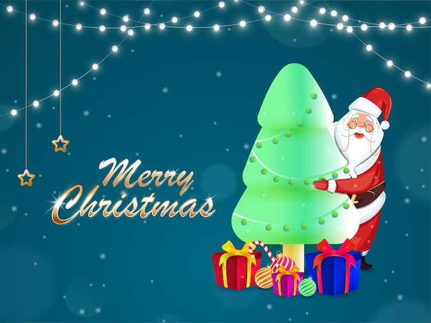 Golden merry christmas font with cartoon santa claus hugging 3d xmas tree
