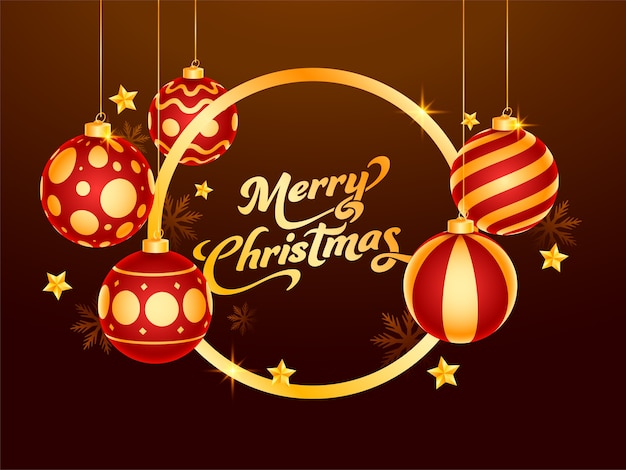 Golden merry christmas font with hanging 3d baubles