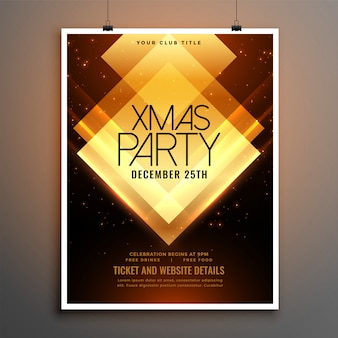 Golden merry christmas party brochure flyer
