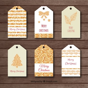 Golden mery christmas tags pack