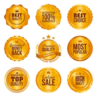 Golden metal best choice premium quality badges set isolated vector illustration.