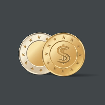 Golden metal coin  illustration