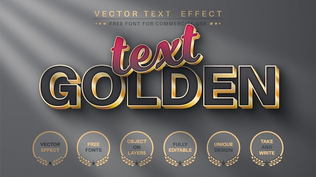 Golden  metal - editable text effect,  font style.