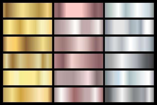 Golden metal gradient set gold chrome gradation silver and bronze titanium platinum shiny collection...