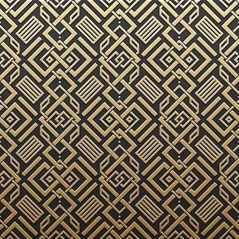 Golden metallic background with seamless geometric pattern. elegant luxury style.
