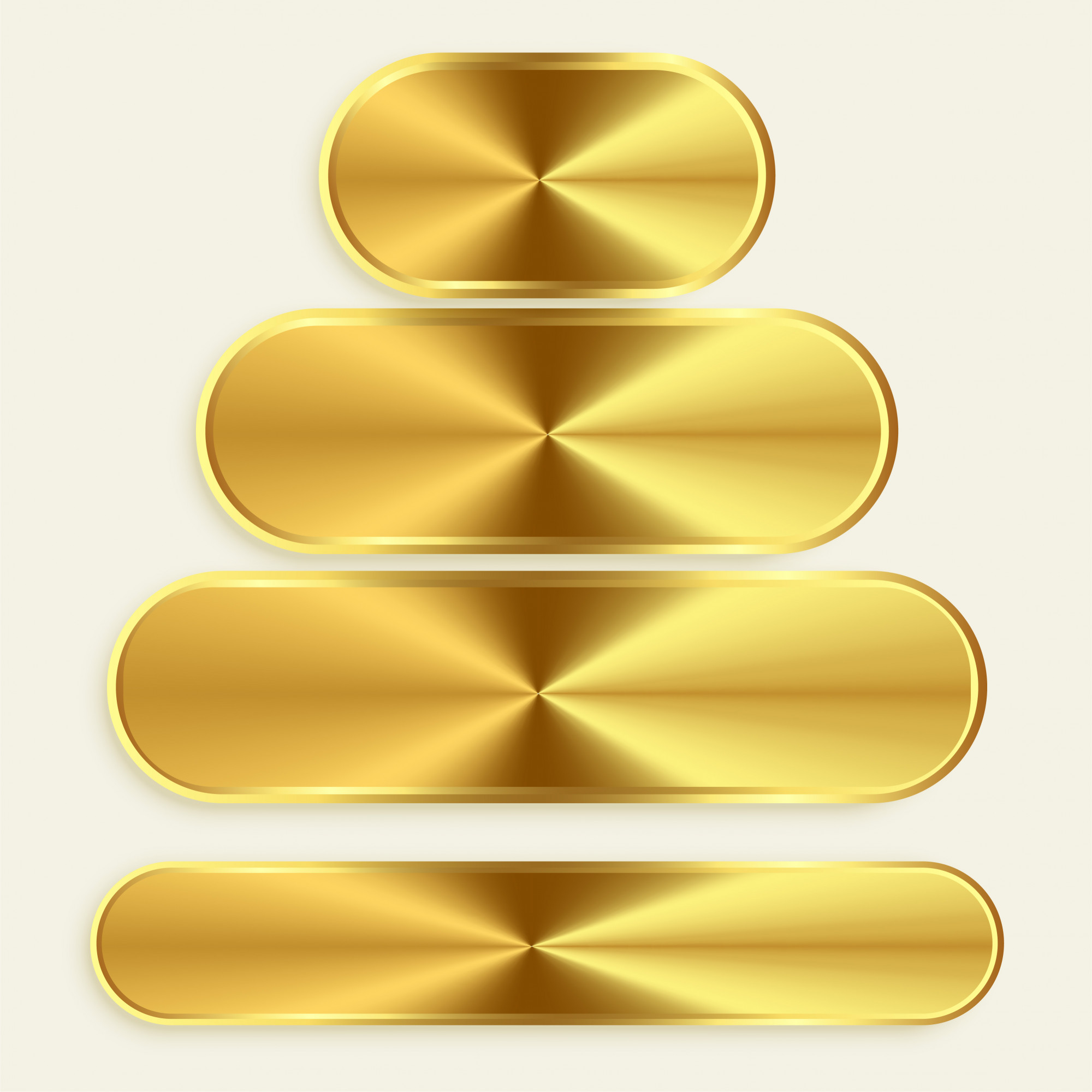 Golden metallic buttons in different sizes