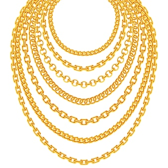 Golden metallic chain necklaces set. gold fashion luxury decoration illustration