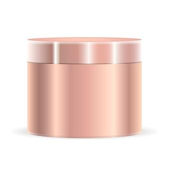 Golden metallic color cream jar mockup. cosmetic