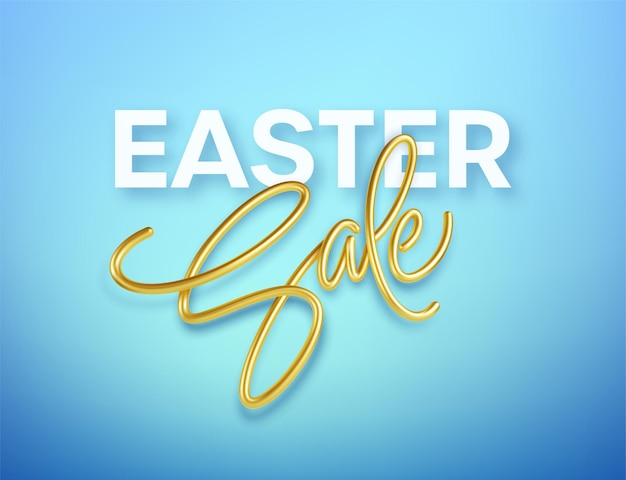 Golden metallic shiny typography easter sale. 3d realistic lettering for the design of flyers, brochures, leaflets, posters and cards eps10