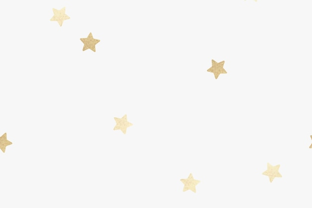 オフホワイトの壁紙に金色の金属の星のパターン
