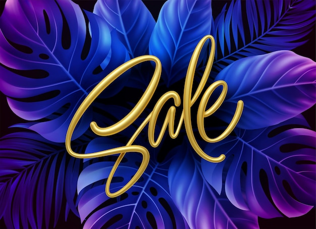 Golden metallic summer sale lettering on a purple bright background