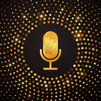 Golden microphone icon on abstract gold halftone circle . karaoke party shiny luxury banner.