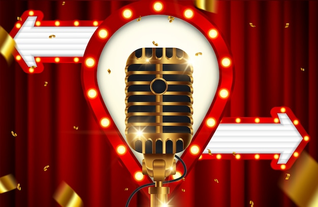 Golden microphone with curtains on red stage background