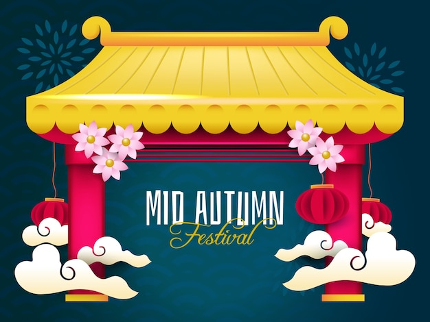 Golden mid autumn festival banner template