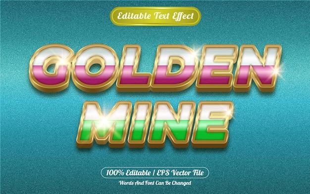 Golden mine editable text effect golden themed