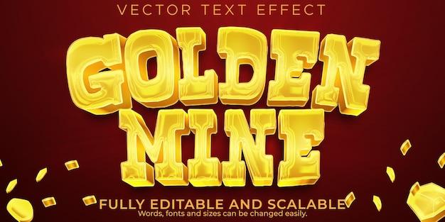 ゴールデンマインのテキスト効果、編集可能な西洋とヴィンテージのテキストスタイル