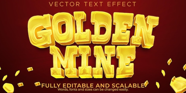 Golden mine text effect, editable western and vintage text style