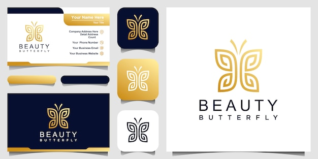 Golden minimalist butterfly line art monogram shape logo. beauty, luxury spa style. logo design,  and business card.