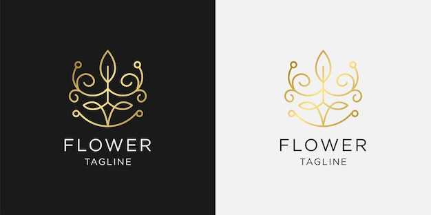 Golden minimalist elegant leaf and flower rose logo