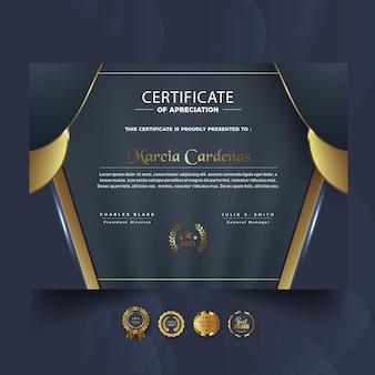 황금 현대 인증서 템플릿 디자인