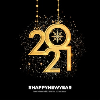 Golden modern happy new year background