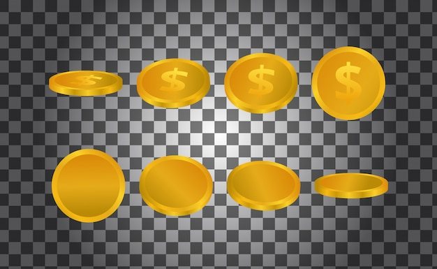 Golden money isolated 3d illustration from any perspective