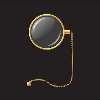 Золотой монокль с цепочкой - современный вектор реалистичный изолированный объект иллюстрации на черном фоне. используйте этот высококачественный клип-арт для презентаций, баннеров и листовок. стильный наглазник