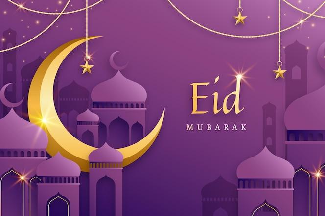 Golden moon flat design eid mubarak