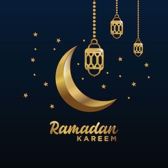 Golden moon and star ramadan kareem background