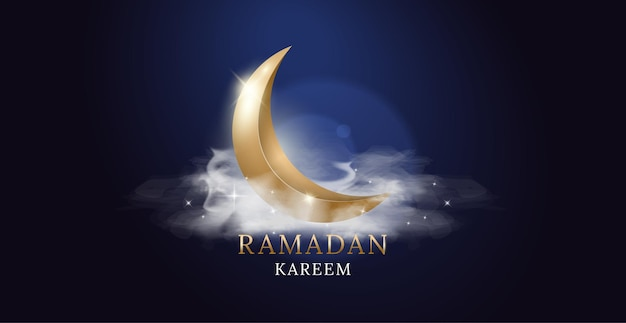 Золотая луна с облаками и огнями. рамадан карим арабский праздник.
