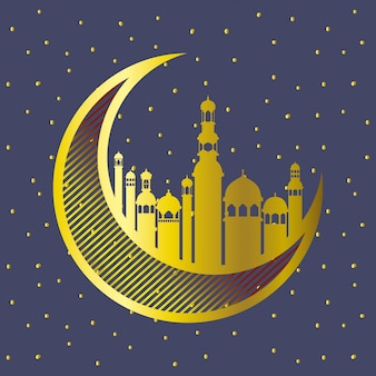 Golden moon with mosque buildings