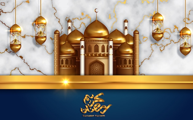Golden mosque concept for muslim community holy month of ramadan kareem.