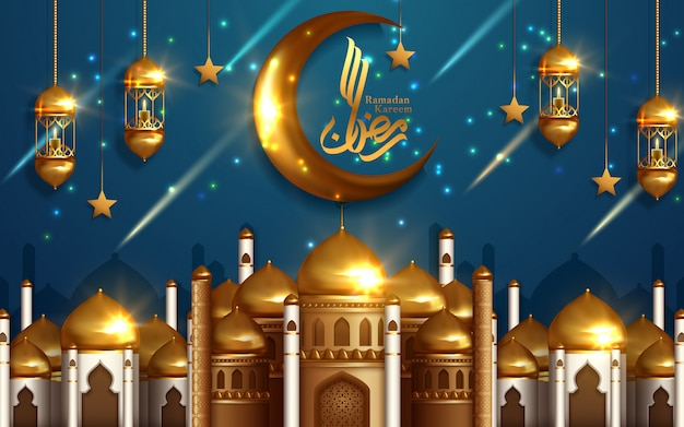 Golden mosque concept for muslim community holy month of ramadan