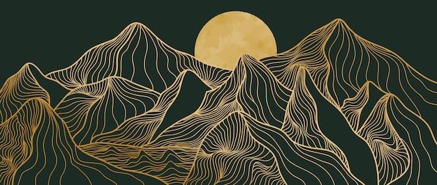 황금 산 라인 아트, 추상 산 현대 미적 배경 풍경. 인쇄 예술, 표지, 초대장 배경, 직물에 사용합니다. 벡터 일러스트 레이 션